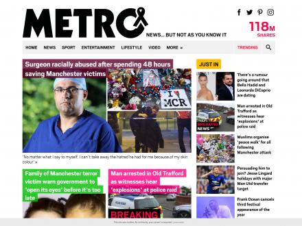 Screenshot of the Metro website