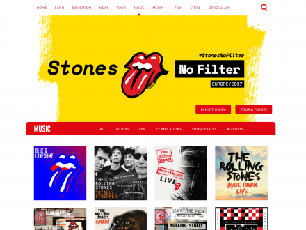 Screenshot of the Rolling Stones website