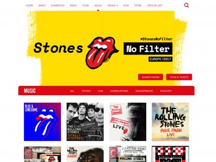 Screenshot of the Rolling Stones website