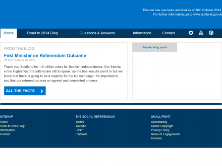 Screenshot of Scotland's Referendum 2014 website