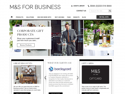Screenshot of the M&S For Business website
