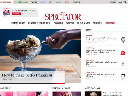 Screenshot of the Spectator website